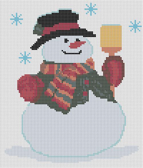 """и схема для вышивки """"Снеговик"""""""